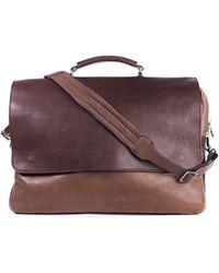 Brunello Cucinelli - Men's Brown Double Zip Messenger Bag - Lyst