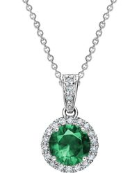 Tia Collections - 6mm Emerald & Diamond Halo Pendant - Lyst