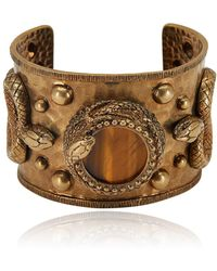 Roberto Cavalli - Brass Serpent Encircled Chatoyant Quartz Bracelet - Lyst