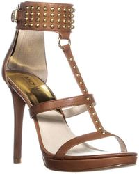 c08239fae725 Lyst - Michael Kors Holly Rope And Luggage Leather Platform Sandal ...