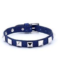 Double Bone - Studs Bracelet Silver/ Blue Stingray - Lyst
