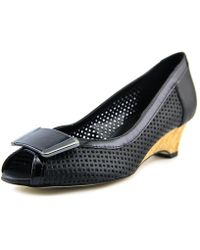 Vaneli - Bonnee Women Open Toe Leather Black Wedge Heel - Lyst