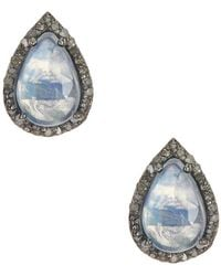 Adornia - Moonstone And Champagne Diamond Moore Stud Earrings - Lyst