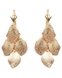 Peermont | Gold Textured Leaf Earrings | Lyst