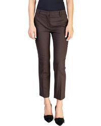 Prada - Women's Virgin Wool Stretch Pants Brown - Lyst