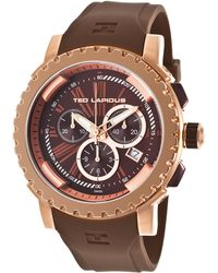 Ted Lapidus - Men's Chrono Brown Rubber Brown Dial Rose-tone Accents - Lyst