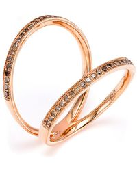CR By Casa Reale | 18 K Gold Champagne Diamond Double Bar Ring | Lyst