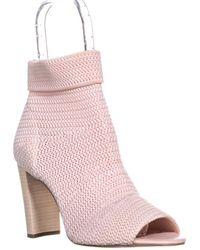 Avec Les Filles - Mariah Peep Toe Ankle Pull On Boots, Avec Pink/white - Lyst