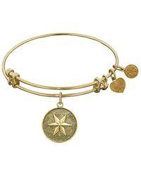Angelica - Stipple Finish Brass Hope Bangle Bracelet, 7.25 - Lyst