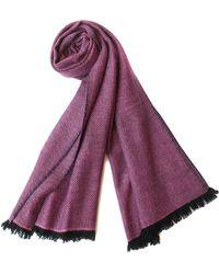 Plush Cashmere - Black And Fuschia Twill Weave Cashmere Stole - Lyst