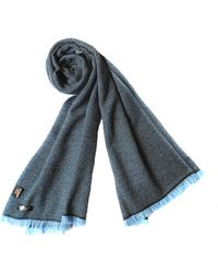 Plush Cashmere - Black And Blue Twill Weave Cashmere Stole - Lyst