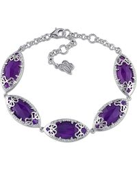 Julianna B | 3/8 Ct Diamond Tw And Purple Chalcedony Bracelet | Lyst