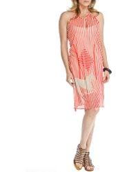 Blue Plate - Boho Red & Off White Sleeveless Keyhole Side Slit Halter Mesh Dress - Lyst
