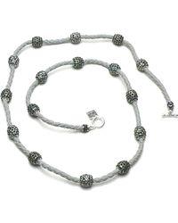 Otazu - Foliage Mix Swarovski Crystal Balls On Leather Necklace - Lyst