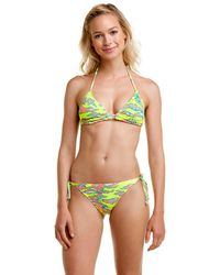 "Hurley - """"flammo"""" Yellow Print String Tie Side Bottom - Lyst"