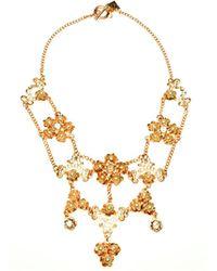 Otazu - Swarovski Crystals And Cream Pearls Floral Necklace - Lyst