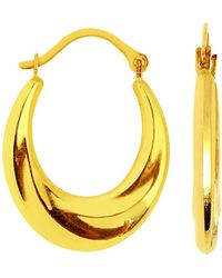Jewelry Affairs - 10k Yellow Gold Swirl Textured Graduated Oval Hoop Earrings, Diameter 20mm - Lyst