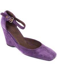 Car Shoe - Womens Purple Suede Wedge Ankle Strap Pumps - Lyst