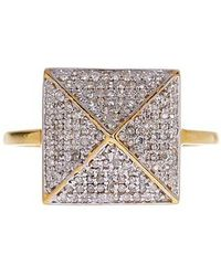 Vanhi - 14k Yellow Gold Diamond Pyramid Ring - 0.32 Ctw - Lyst