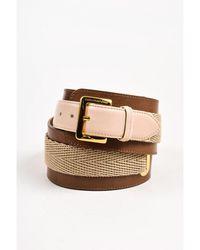 Boutique Moschino - 1 Brown Leather Beige Trim Thick Belt Sz 46 - Lyst