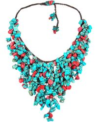 Aeravida - Handmade Reconstructed Coral And Reconstructed Turquoise Stone Waterfall Bib Necklace - Lyst