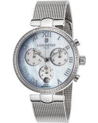 Lancaster Italy - Women's Chimaera Diamond Chrono Ss Mesh Mop Dial Ss - Lyst