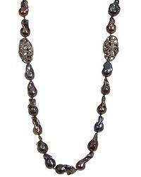 Vanhi - Diamond And 8-12mm Grey Baroque Pearl & Diamond Necklace - Lyst