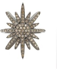 Adornia | Champagne Diamond And Sterling Silver Starburst Ring | Lyst