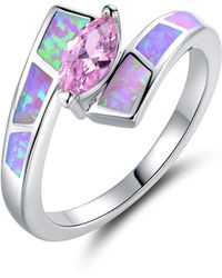 Peermont - 18k White Gold Plated Pin. K Cz & Pin. K Fire Opal Ring - Lyst