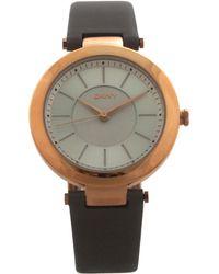DKNY - Ny2296 Stanhope Grey Leather Strap Watch - Lyst