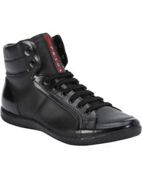 black patent leather prada high top sneakers