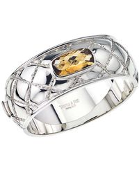 Jewelista - Sterling Silver & Citrine Quilted Bangle - Lyst