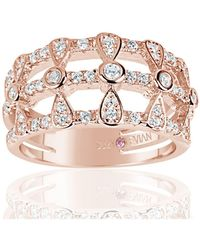 Suzy Levian   Rose Sterling Silver Cubic Zirconia Three Row Multi-shape Ring   Lyst