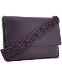 Nada Sawaya - M15l-ch - Laser-cut Leather Flap Clutch - Lyst