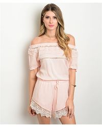 Leather And Sequins - Sweet Baby Pink Crochet Romper - Lyst