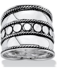 Palmbeach Jewelry - Bali Bohemian Wide Cigar Band-style Ring Band In Antiqued .925 Sterling Silver With Rope Detailing - Lyst