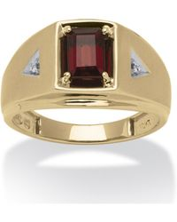Palmbeach Jewelry - Men's 1.20 Tcw Emerald-cut Genuine Garnet And Diamond Accent Ring In 10k Gold - Lyst