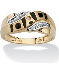 "Palmbeach Jewelry - Men's Diamond Accent ""dad\"" I.d. Ring In 10k Yellow Gold - Lyst"