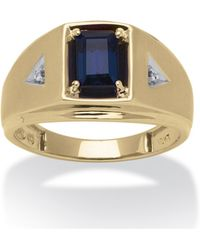 Palmbeach Jewelry - Men's 1.15 Tcw Emerald-cut Lab Created Sapphire And Diamond Accent Ring In 10k Yellow Gold - Lyst