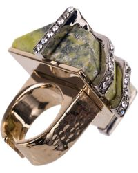 Roberto Cavalli - Green Striped Marble Swarovski Embellished Rings - Lyst