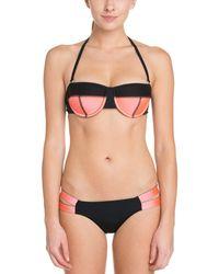 Hurley - Pink & Black Reversible Bikini Bottom - Lyst
