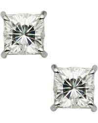 Charles & Colvard - White Gold Forever Brilliant 7.0mm Cushion Moissanite Stud Earrings 3.4cttw Dew - Lyst