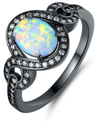 Peermont - Black Rhodium Plated Fire Opal Oval Statement Ring - Lyst