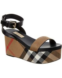 Burberry   House Check Lather Wedge Sandal   Lyst