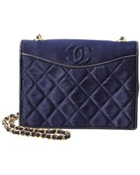 Chanel - Navy Quilted Satin Mini Shoulder Bag - Lyst