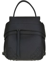 Tod's - Women's Black Leather Backpack - Lyst