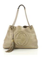 Lyst - Gucci Purple Metallic Leather Soho Shoulder Bag in Purple 771629a34d01b