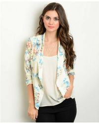 Leather And Sequins - Ivory Sky Floral Blazer Jacket - Lyst