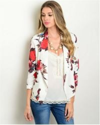 Leather And Sequins - White Poppy Floral Blazer Jacket - Lyst