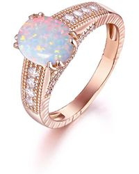 Peermont   18k Gold Plated Rose Gold & 2cttw White Fire Opal Engagement Ring   Lyst
